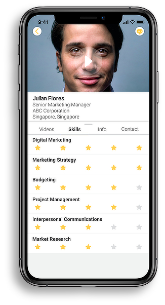 Haloed professional networking member profile in iPhoneXS