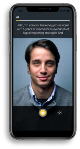 Haloed professional networking video recording screen in iPhoneXS